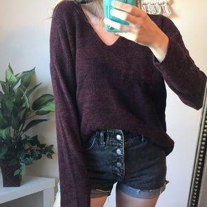 H&M Marled Maroon Oversized V-Neck Sweater